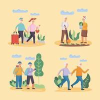 grupo de quatro casais de idosos ativos praticando personagens de atividades vetor