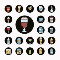 pacote de vinte e dois ícones de bebidas vetor