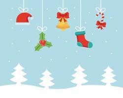 banner de feliz natal com enfeites pendurados