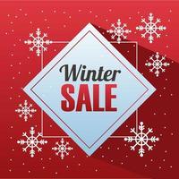 grande pôster de venda de inverno com letras em moldura de diamante vetor