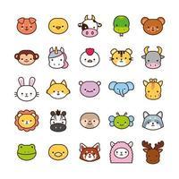 pacote de vinte e cinco animais kawaii alinham e preenchem o estilo vetor