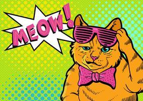 sorria gato arte pop vetor