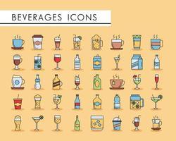 pacote de quarenta ícones de bebidas vetor