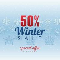 grande cartaz de venda de inverno com letras e tempestade de flocos de neve vetor