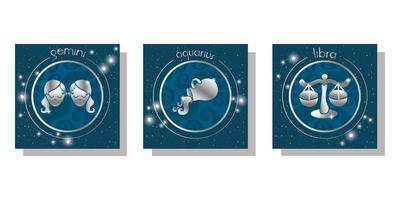 conjunto de ícones de signos do zodíaco vetor