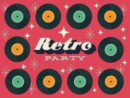 poster de festa estilo retro com discos de vinil vetor