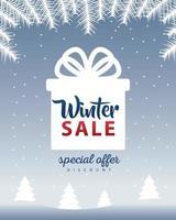 grande cartaz de venda de inverno com letras em um presente