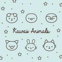 pacote de animais kawaii com estrelas e estilo de linha de letras