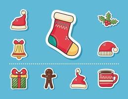 Conjunto de meias e adesivos de feliz natal vetor