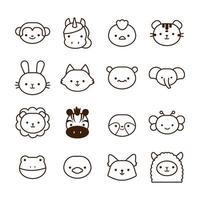 pacote de dezesseis animais kawaii estilo de linha vetor