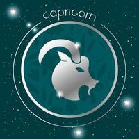 desenho de prata do signo do zodíaco Capricórnio vetor