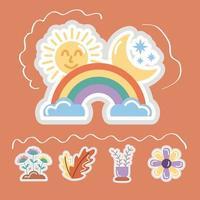 ícones de estilo plano de adesivos com arco-íris vetor