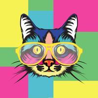 Ilustração do retrato do pop art do gato vetor