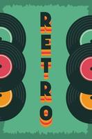pôster de festa estilo retro com discos de vinil vetor