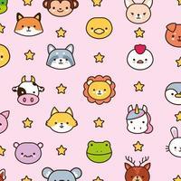 pacote de animais kawaii com linha de estrelas e estilo de preenchimento vetor