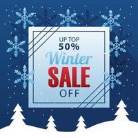 grande cartaz de venda de inverno com letras e moldura quadrada