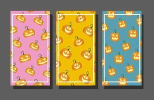 pacote de doces de halloween e fundo de padrões de abóboras vetor
