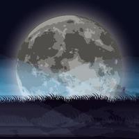 cena de noite escura de halloween com lua cheia vetor