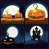 pacote de cenas escuras de halloween vetor
