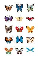 conjunto de ícones lisos de borboletas fofas vetor