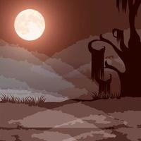 cena da floresta escura de halloween com lua cheia vetor