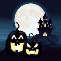 noite escura de halloween com abóboras e castelo vetor