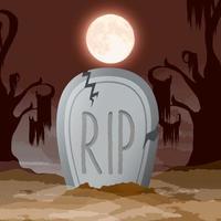cena da noite escura de halloween com lápide vetor