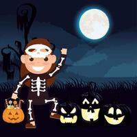 cena dark halloween com abóbora e criança em uma fantasia de caveira vetor