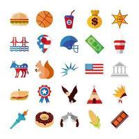 conjunto de ícones de celebração eua vetor
