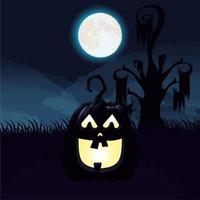cena da noite escura de halloween com abóbora vetor