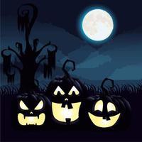 cena da noite escura de halloween com abóboras vetor
