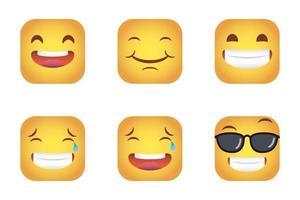 conjunto de quadrados emoticons rostos vetor