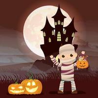 cena dark halloween com abóbora e criança fantasiada de múmia vetor