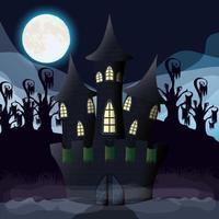 cena da noite escura de halloween com castelo assombrado vetor