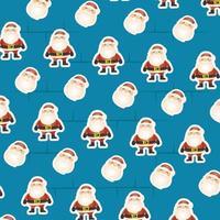 cartão de feliz natal com padrão de papai noel vetor