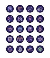 Conjunto de ícones de estilo de luz de néon ramadam kareem