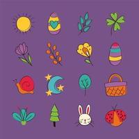 conjunto de ícones de primavera desenhado à mão vetor