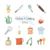 conjunto de ícones planos de cozinha e comida vetor