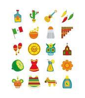 conjunto de ícones planos de cultura mexicana vetor