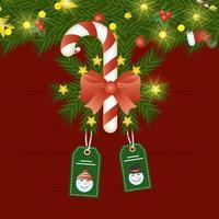 cartão de feliz natal com bastão de doces e etiquetas penduradas vetor