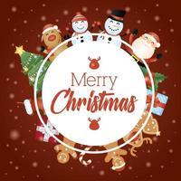 cartão de feliz natal com personagens em uma moldura circular vetor