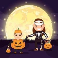 cena dark halloween com abóbora e crianças fantasiadas vetor
