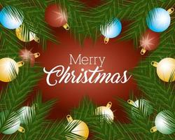 banner de feliz natal com enfeites vetor