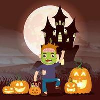 cena dark halloween com abóbora e criança fantasiada de monstro vetor
