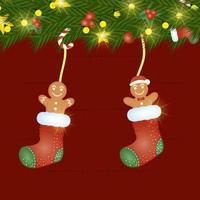 cartão de feliz natal com biscoitos de gengibre nas meias vetor