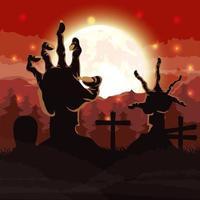 cena escura de halloween com mãos de zumbis no cemitério vetor