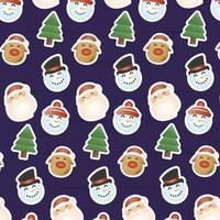 cartão de feliz natal com padrão de cabeças de personagens vetor