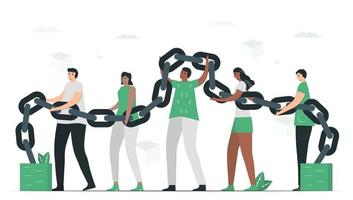 pessoas usam blockchain para fazer banco de dados juntos. vetor