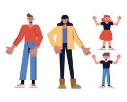 desenho animado mãe, pai, filha e filho vetor