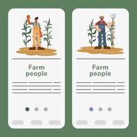 conjunto de modelos de banner para pessoas de fazenda vetor